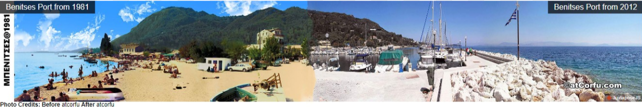 Benitses village in Corfu before during the 1980 's and after in 2020 plus